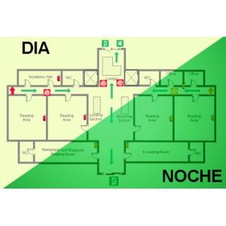 Plano de evacuación fotoluminiscente e indicaciones